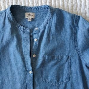 J. Crew linen chambray midi tunic dress XL pockets